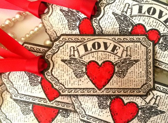 Wedding Favor Tags, Love Tags, Vintage Tags, Red Wedding Favors,  Love Hearts, Rustic Tags, Rustic Wedding, Place cards, Christmas Wedding