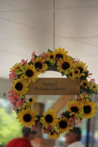 Handmade sunflower wreath made from #fakeflowers from the dollar store and a styrofoam #wreath from hobby lobby.