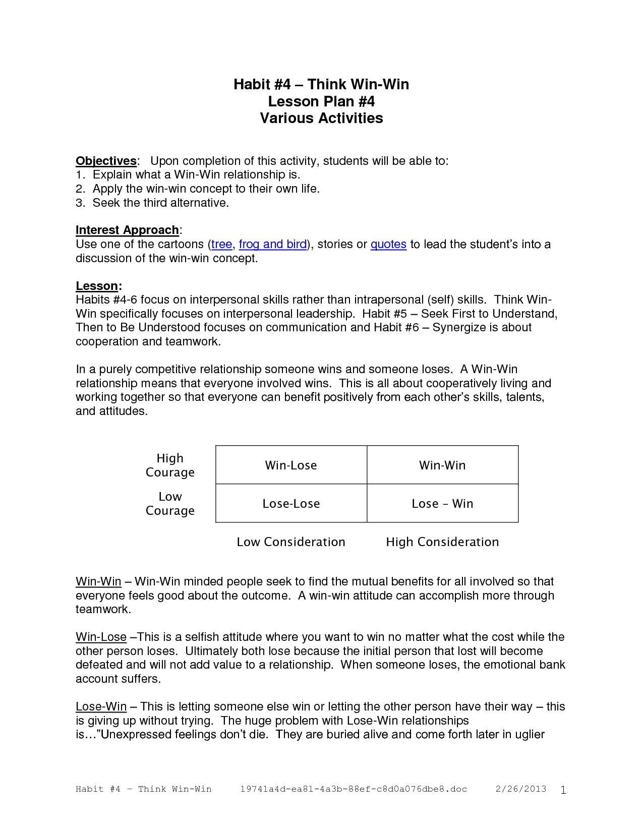 Think WinWin Activities  Lesson   Olympia Community Schools