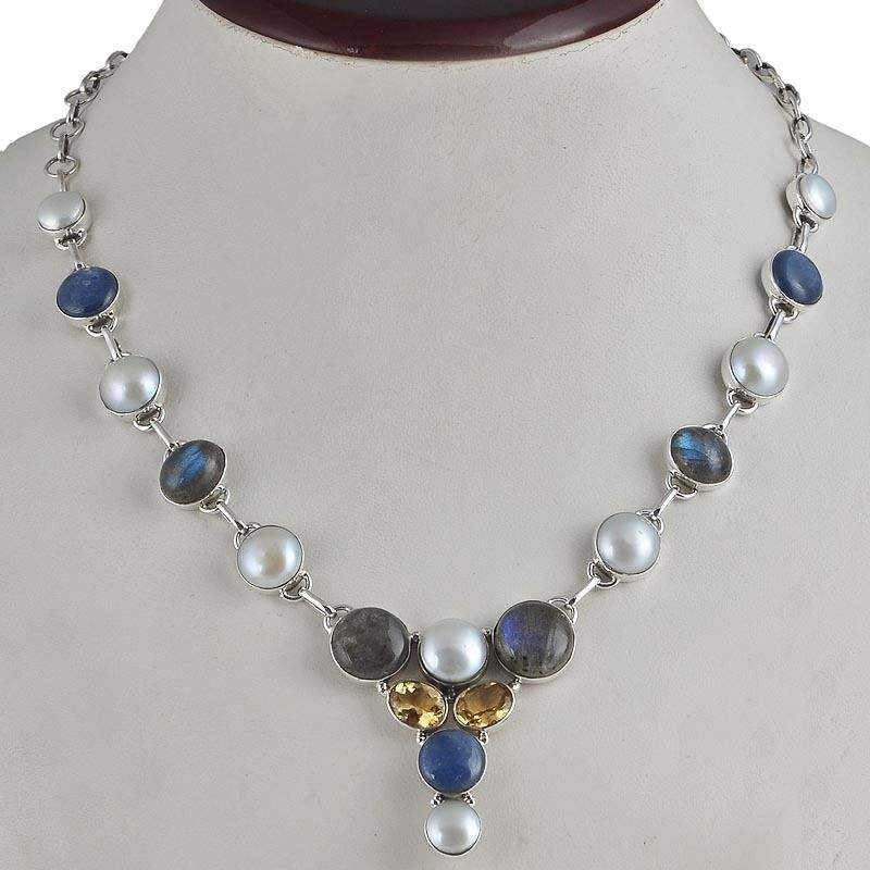 NEW 925 SOLID STERLING SILVER FANCY LABRADORITE & PEARL NECKLACE 28.36g NK0042 #Handmade #NECKLACE