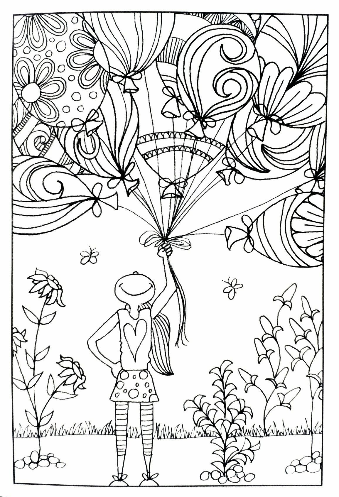 Girl With Balloons Inkspirations Adult Coloring Page Coloring