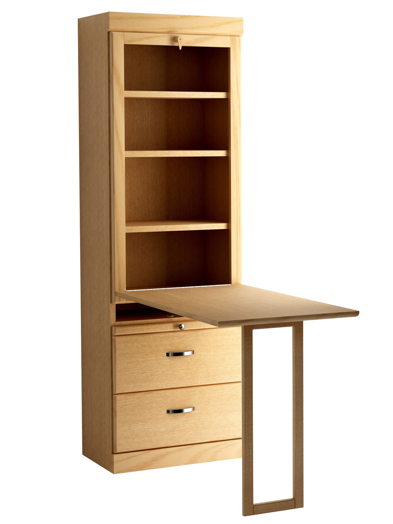 Shaker Style Bookcase With Drop Down Table In Oak Honey Finish Shown Open