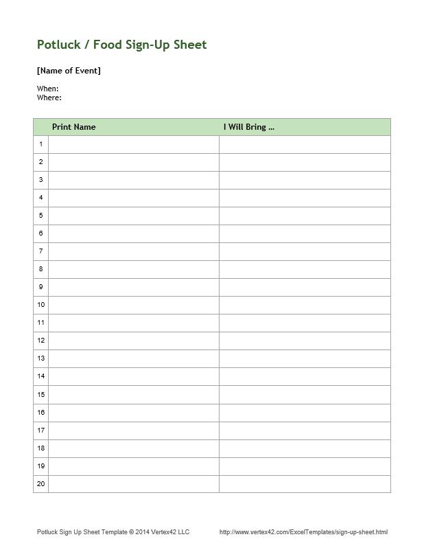 Download a free sample sign up sheet Church Pinterest – Sample Sign Up Sheet