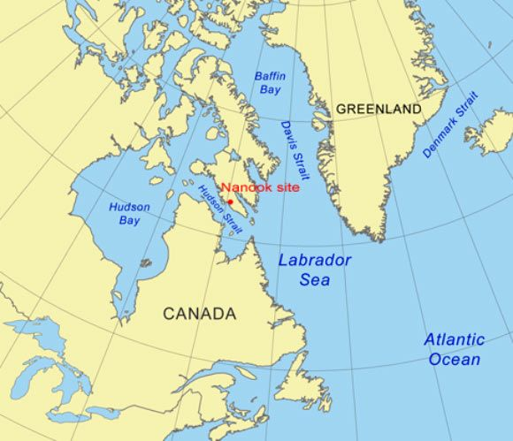 Map showing location of the Nanook site, Baffin Island, Canada. A