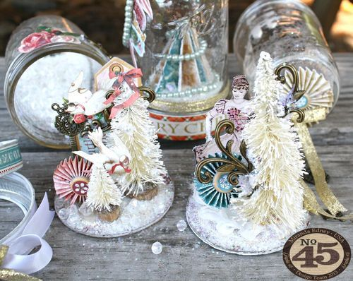 These Twelve Days of Christmas snow globes by Miranda will brighten your day! There's even a tutorial - you must click to see more! Learn clever ways to use G45 and Scor-Pal tools #graphic45 #scorpal #christmas