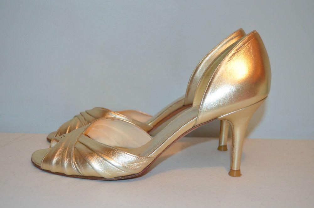 Stuart Weitzman Gold Leather D'Orsay Heels - 7M-MSRP $240-EUC #StuartWeitzman #OpenToe #Party