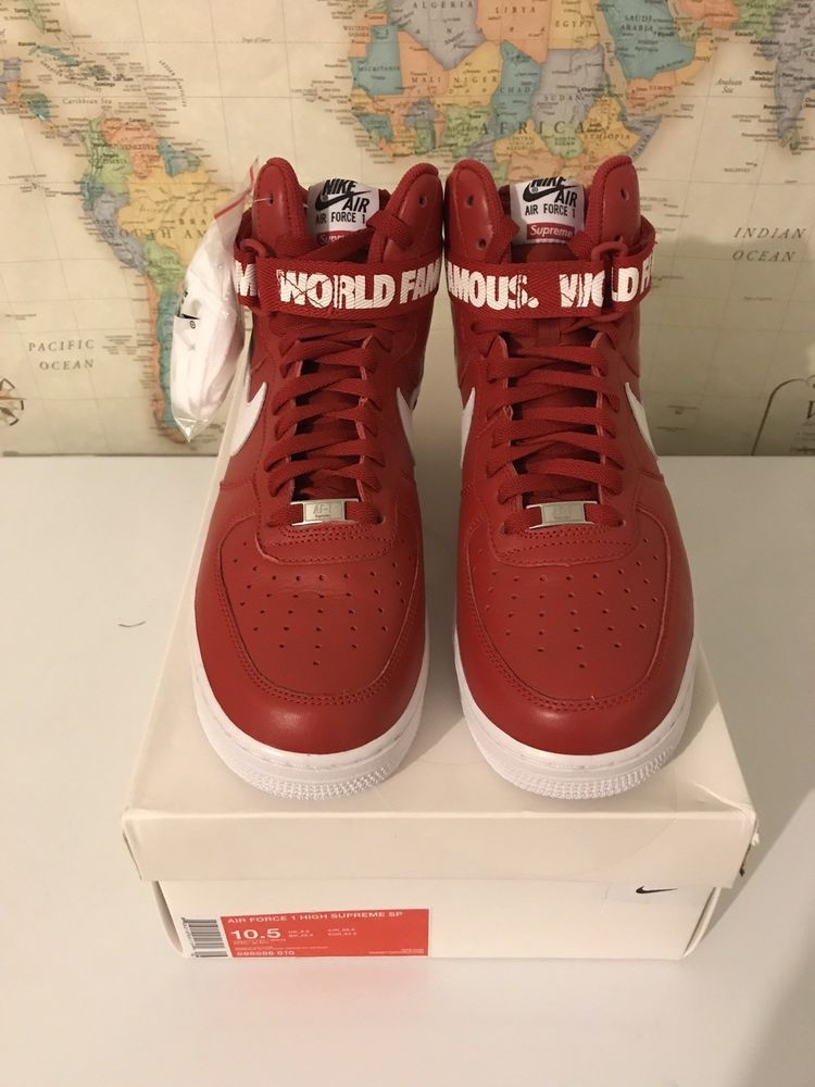 NIKE AIR FORCE 1 HIGH SUPREME SP World Famous RED SIZE 10.5