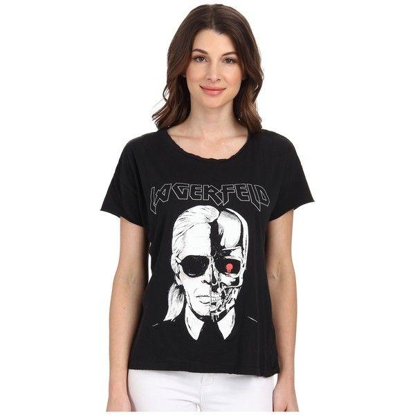 f14b30ee7 StyleStalker Karl Lagerfeld Distressed Tee Women's T Shirt ($88) ❤ liked on  Polyvore