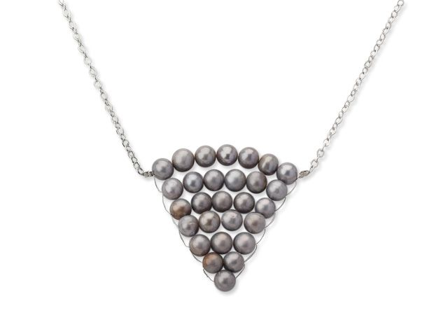 Aypearl.com--Fashion Style Silver Gray Color Freshwater Pearl Wrapped Pendant Necklace