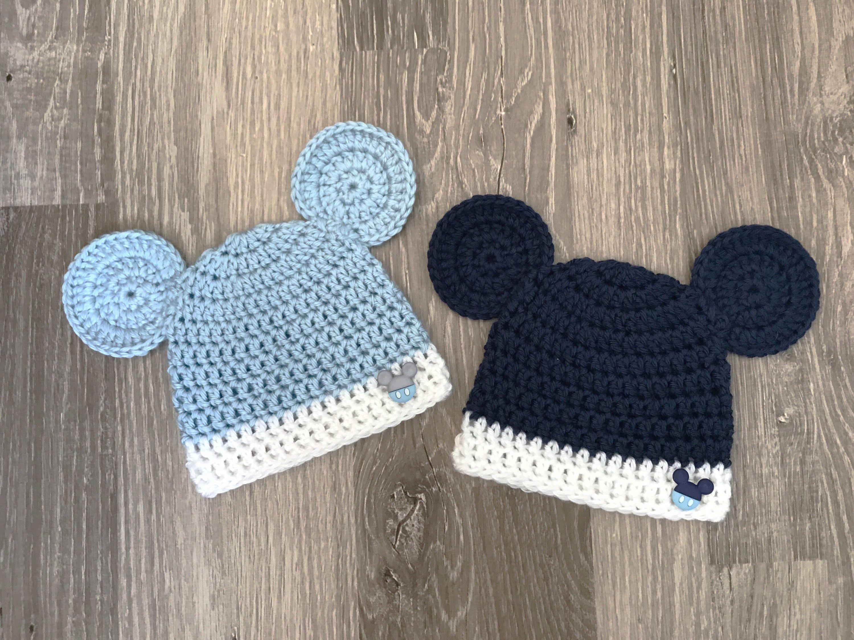 Newborn Baby Boys Mickey Mouse Hat Cap Hand Made Crochet New