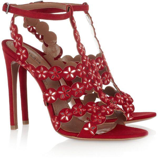 Alaïa Mirror-embellished suede sandals `