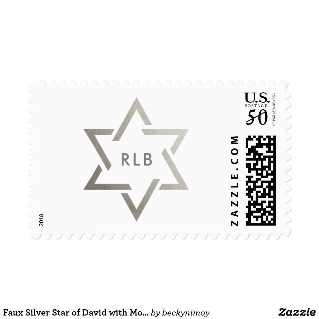 Faux Silver Star of David with Monogram Postage