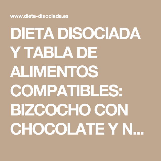 tabla dieta disociada lchocolate