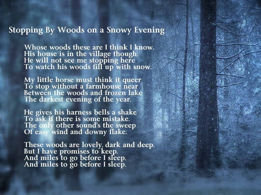 191 poetry stopping by the woods on a snowy evening by