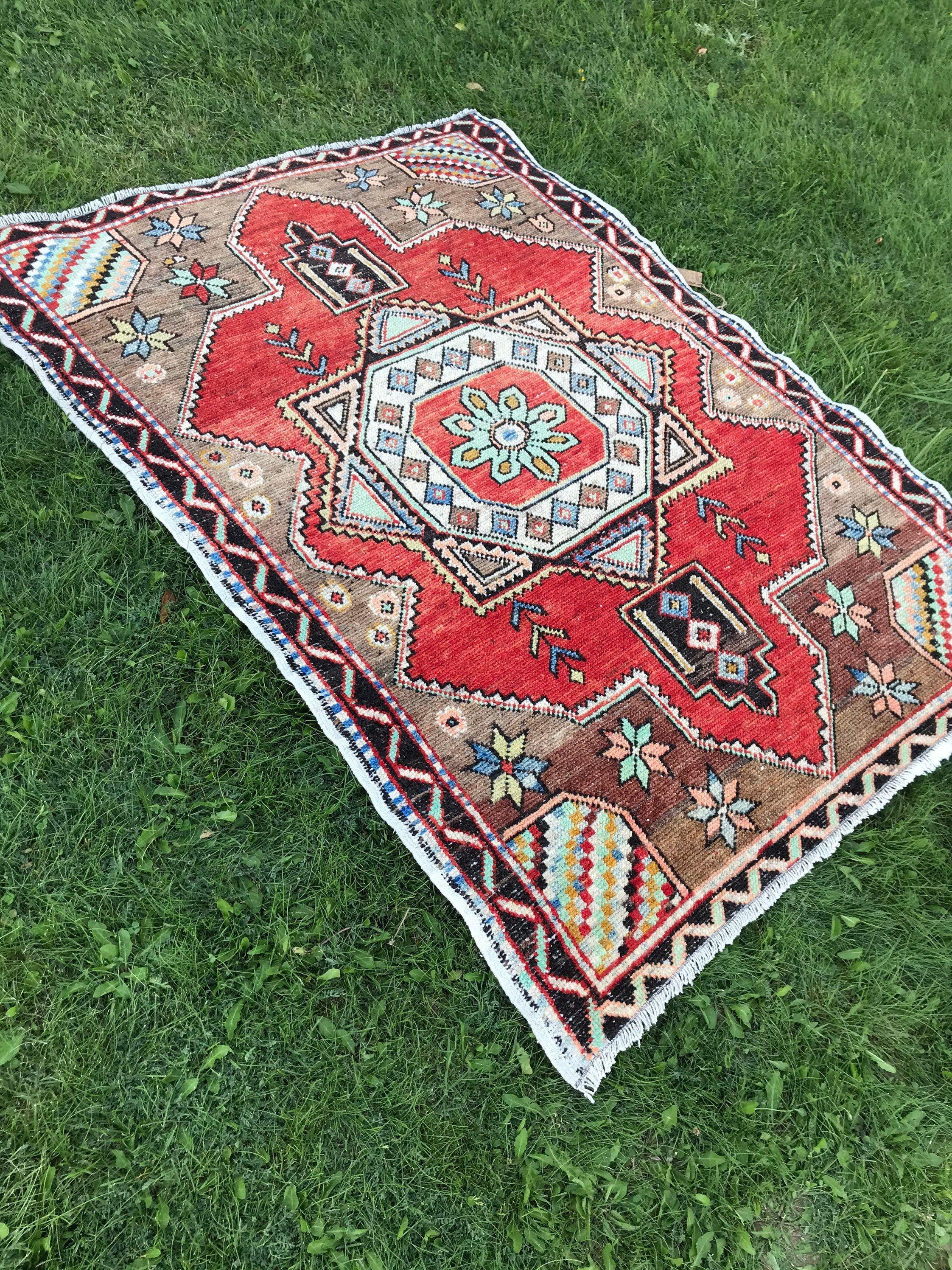 hand knotted oushak rug turkish rug vintage oushak rug kitchen rug distressed old carpet on boho chic kitchen rugs id=59954