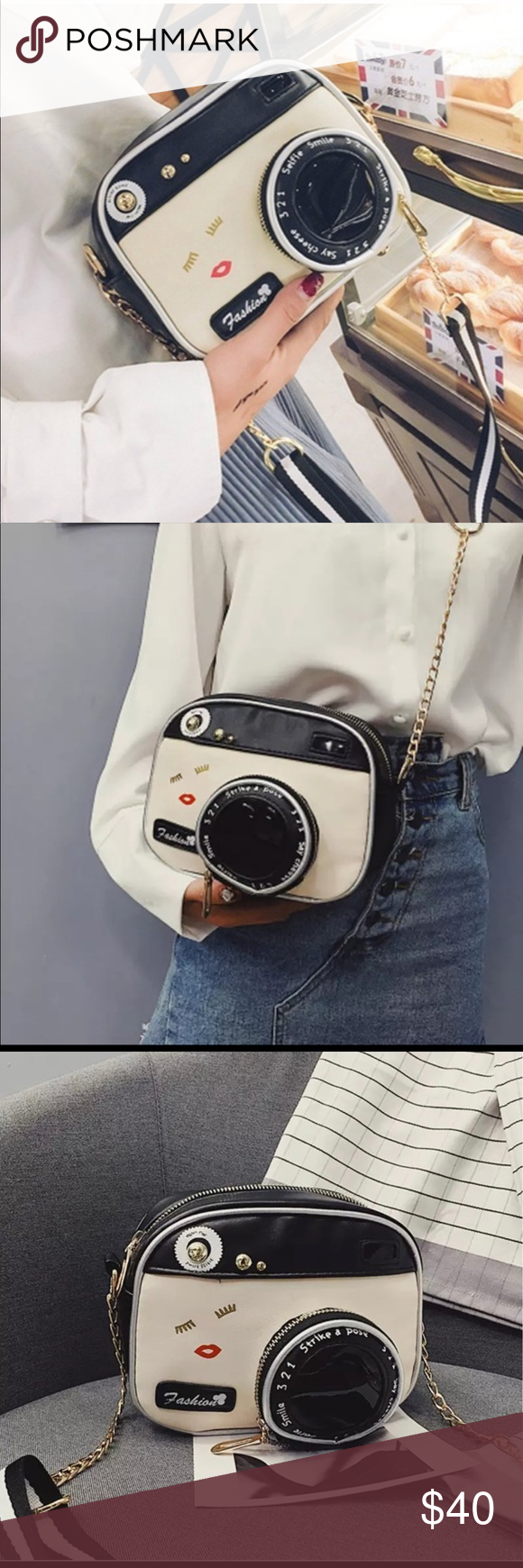 "Say Cheese Camera Purse ???? Measures 7.5"" by 6"" and 3"" deep. adorable Crossbody bag! Faux leather. Brand new in package unbranded Bags Crossbody Bags #camerapurse"