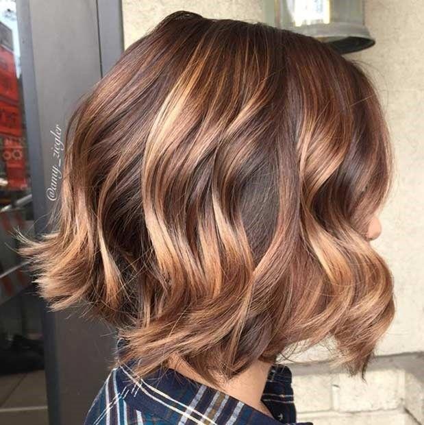 4 Zimt Gold Balayage Haarschnitt Bob Frisur Haare Balayage
