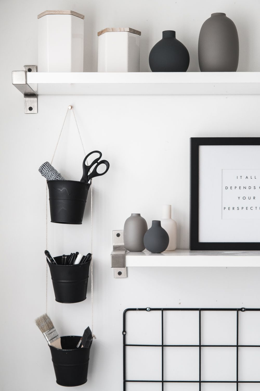 Diy Hanging Buckets Organizer Desk Organization Diy Desk Wall
