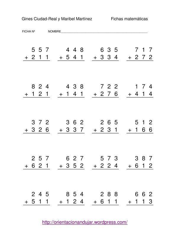 Primero B Carazony Septiembre 2013 Hojas De Calculo Hojas De Trabajo De Matematicas Ejercicios De Calculo