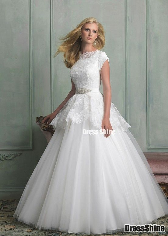 I like this - Ball Gown High Neck Short Sleeve Tulle Lace Vintage ...