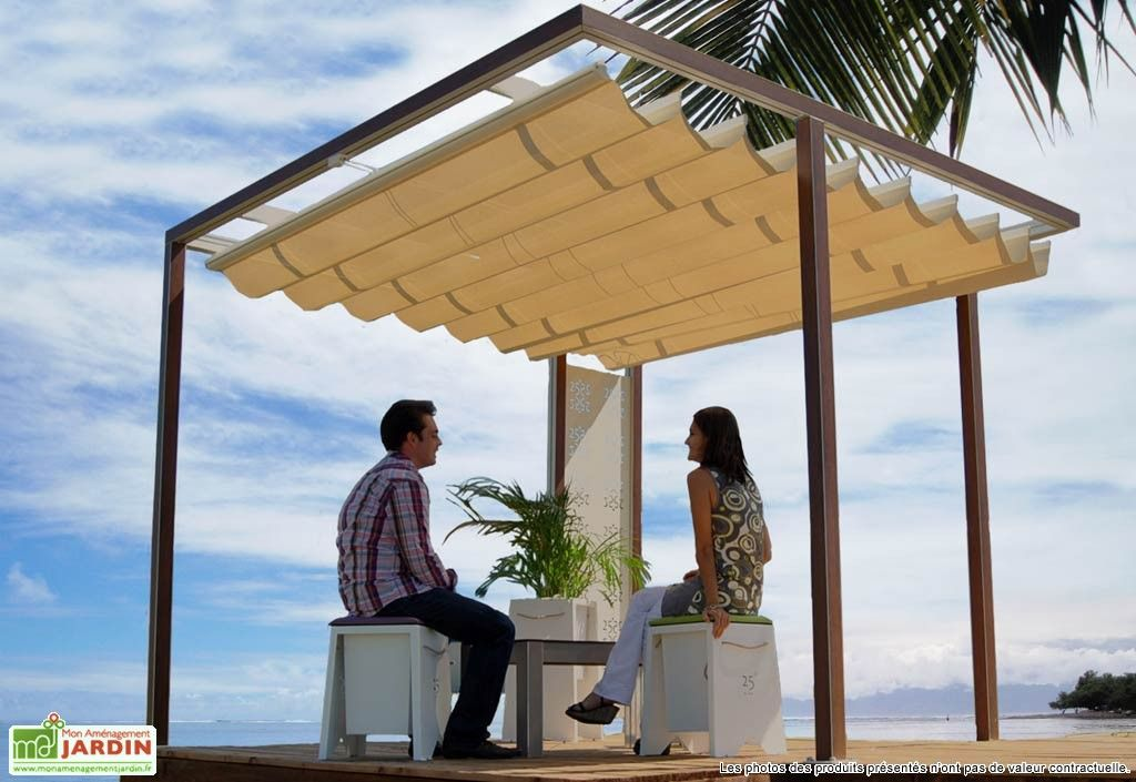 pergola toile amovible 3x3m poteaux positionnables for. Black Bedroom Furniture Sets. Home Design Ideas