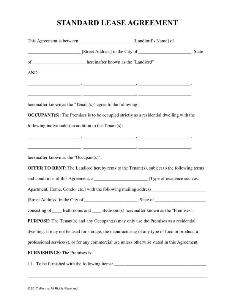 Free Rental Lease Agreement Templates Residential Commercial Pdf Word Eforms F Lease Agreement Free Printable Room Rental Agreement Lease Agreement