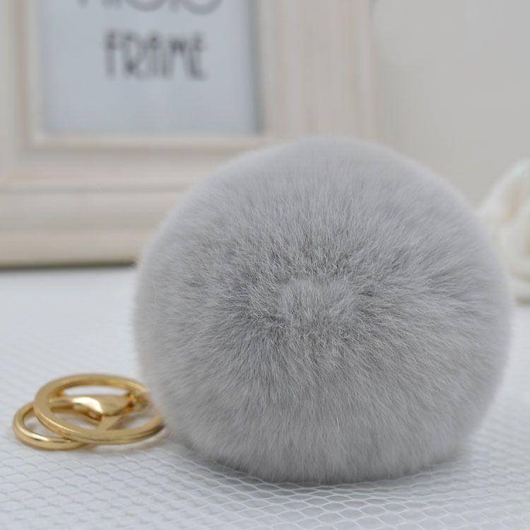8 CM Genuine rex rabbit fur sfera di colore Dell'oro keychain sveglio dell'anello chiave Dell'automobile Pendente Del Sacchetto della pelliccia pom soffici chiave catene