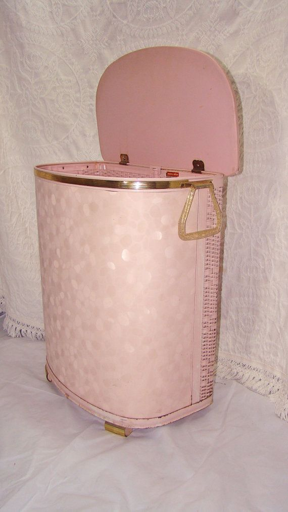 Vintage Pink Atomic Laundry Hamper With Gold Trim And Flecked