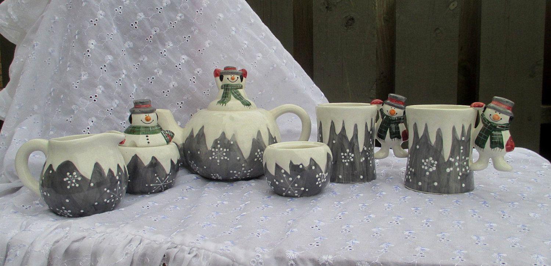Snowman Tea Pot, Snowflake Tea Pot, Snowman Sugar, Snowman