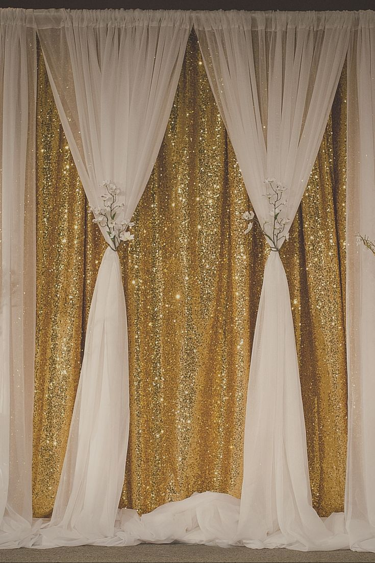Gold sequin curtain becomes soft and romantic when you for Background curtain decoration