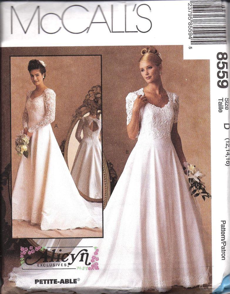 8559 UNCUT Vintage McCalls Sewing Pattern Misses Wedding Bridal Gown ...