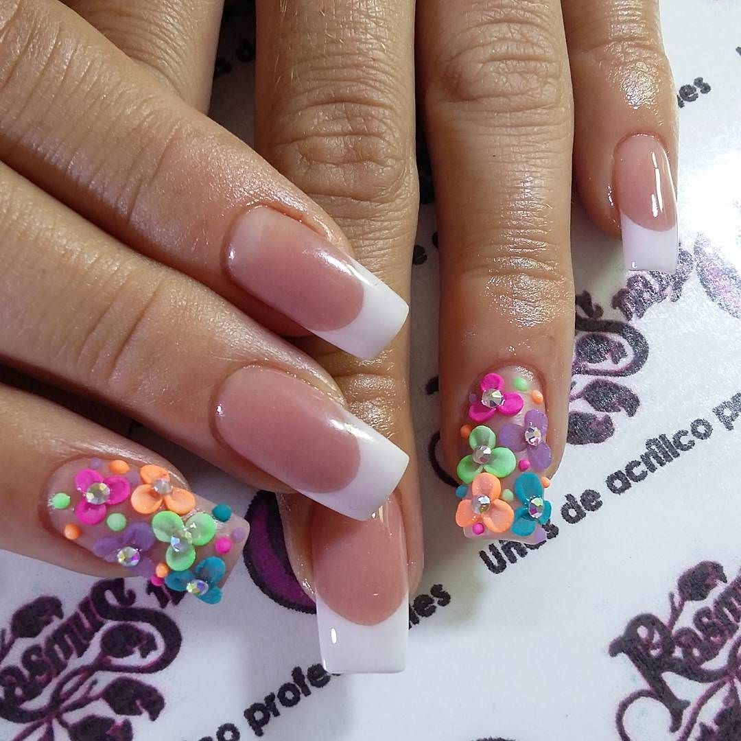 Beautiful Flowers Nail Design Awesome Summer Acrylic Nail Design