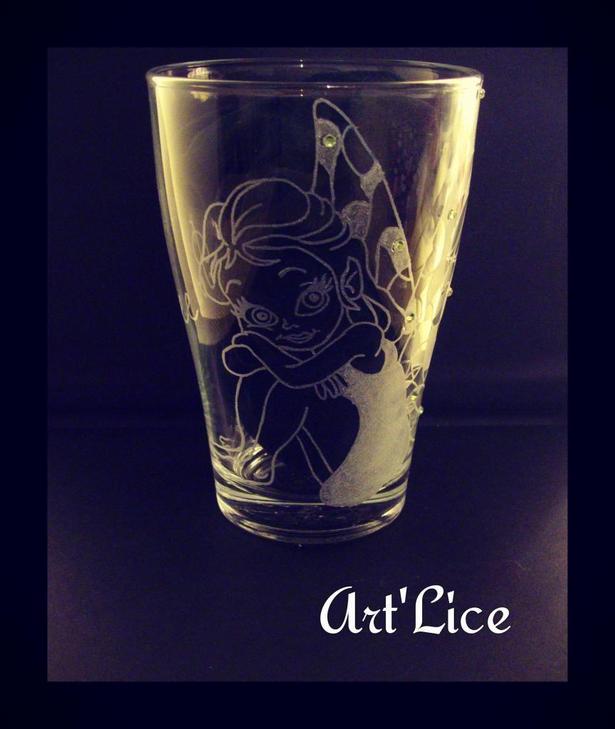 Gravures Sur Verre tout grand verre à eau motif fée avec inscription personnalisée | gravure