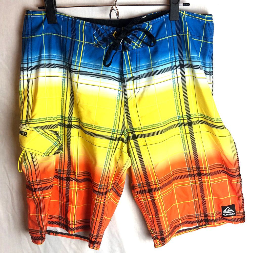 591ddbf634 Quiksilver Plaid Boardshorts Size 34 Mens Orange Yellow Blue #Quiksilver # BoardShorts