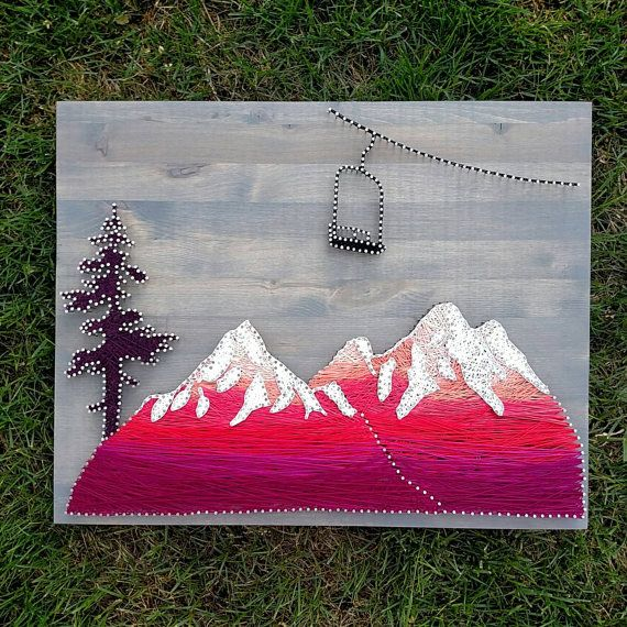 Mountain Scence With Chairlift By TheWoollyBugger Mountain | Art | String  Art |