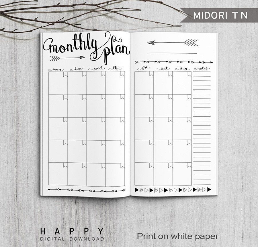 Printable Arrow Midori Monthly Planner Inserts Fauxdori Bullet