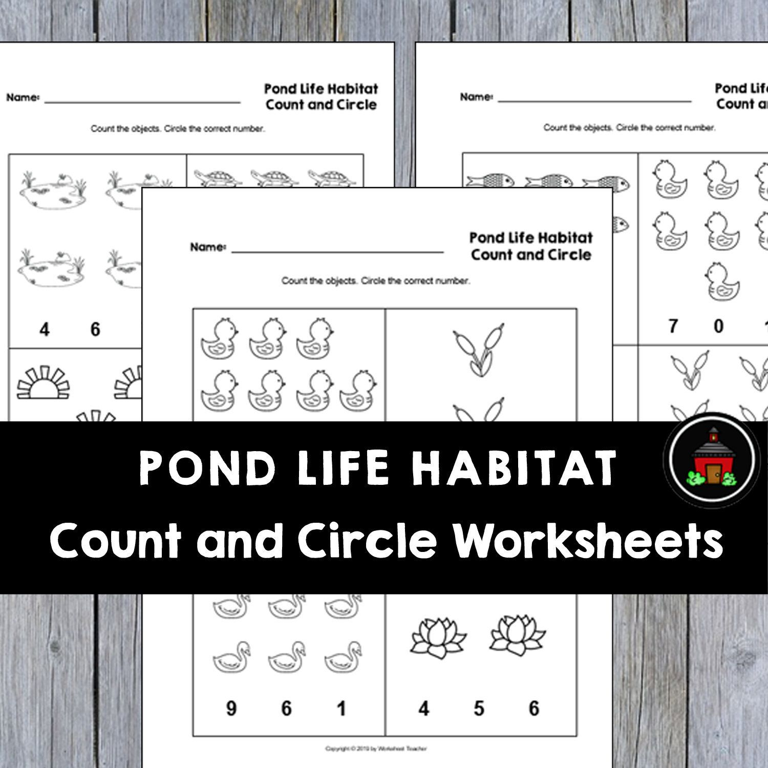 4 Printable Pond Life Habitat Count And Circle Numbers 0