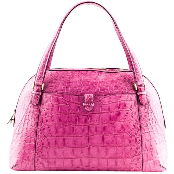 "Valextra large pink crocodile ""Punch"" handbag ❤ liked on Polyvore"