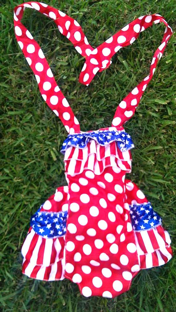 405043d48fc2 Girls Fourth Of July Satin Bubble Romper With Ruffle Butt on Etsy ...