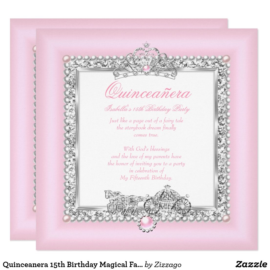 Quinceanera 15th Birthday Magical Fairytale Pink Invitation ...
