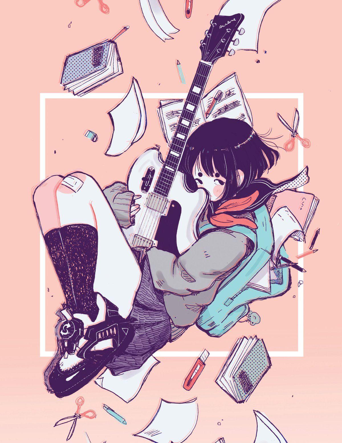Guitar school print cute art styles cute drawings cute art