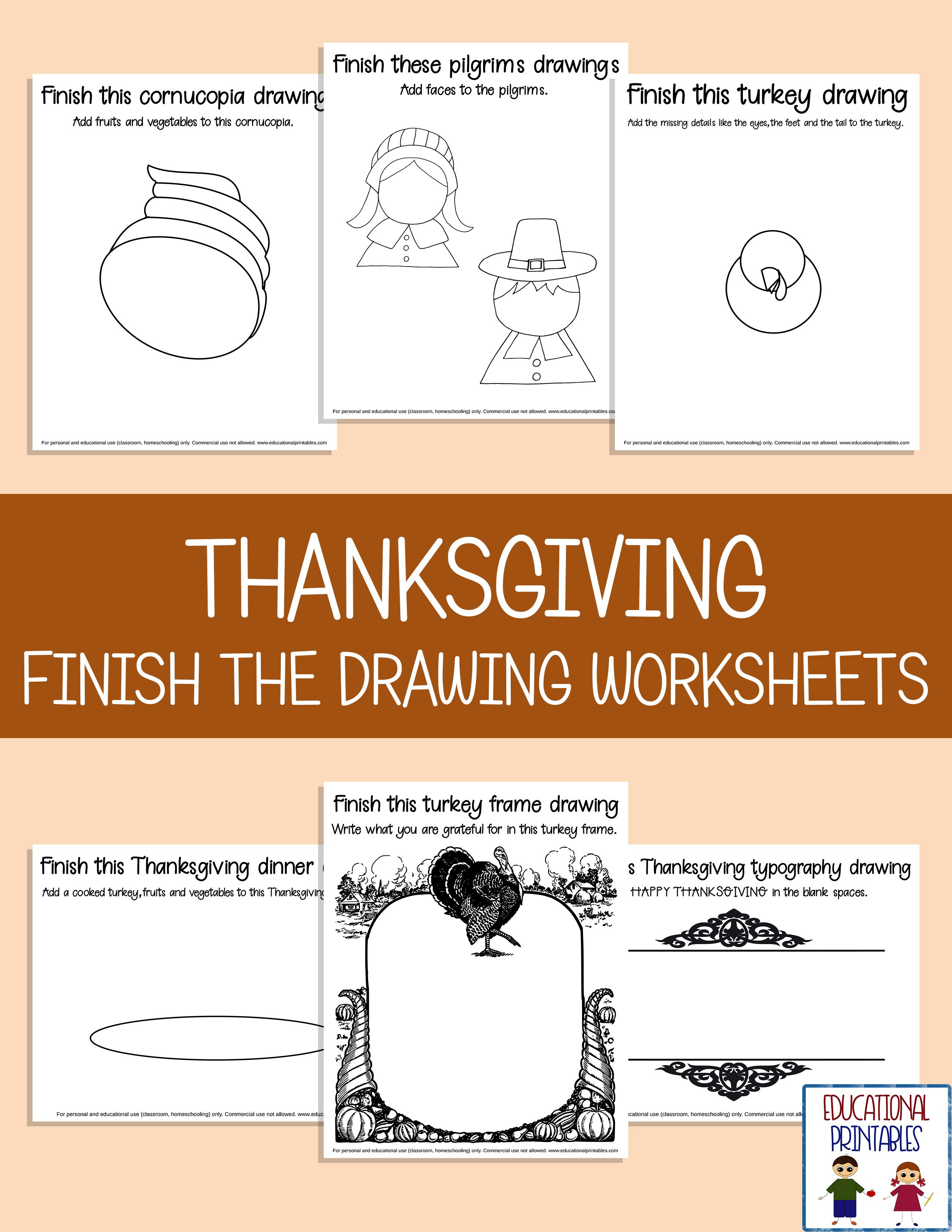 Thanksgiving Finish The Drawing Worksheets From Janet S