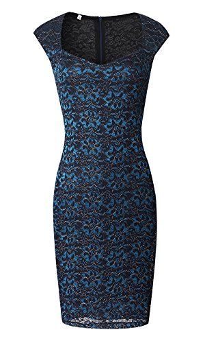 41dc4ee1c5c ZESICA Womens Elegant Lace Floral Slimming Tunic Dress Evening Party  Bodycon Dress Blue Large    Continue to the product at the image link.