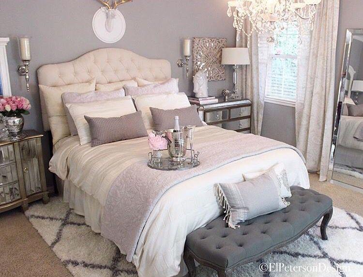 Love This Bedroom Grey Walls White Tufted Headboard Look Romantic
