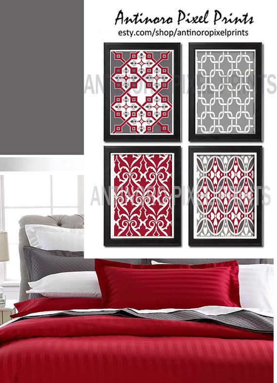 red greys ikat digital inspired wall art prints collection set of 4