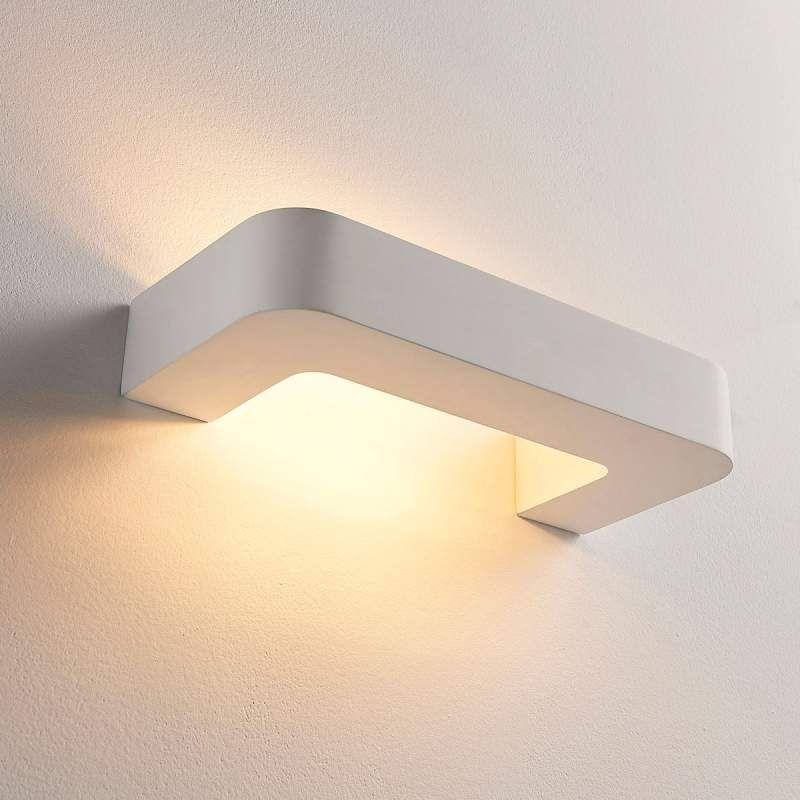 Beugelvormige Led Wandlamp Julika Wit Gips Wandlamp Muurverlichting Led Lamp