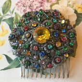 Vintage Hair Comb Czech 1930s Muli Coloured Brooch Converted Into A Hair Accesso...,  #1930s #accesso #brooch #Coloured #comb #Converted #Czech #Hair #hairaccessoriespromdiy #Muli #Vintage