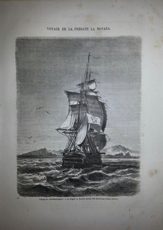 Antique French Engraving View of the boat La by reveriefrance, $15.00
