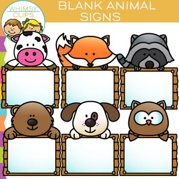 Blank Signs Clip Art That Features Animals Peeking Over Wooden Signs This Clip Art Set Contains 12 Image Files Which Includes 6 Clip Art Pet Signs Blank Sign