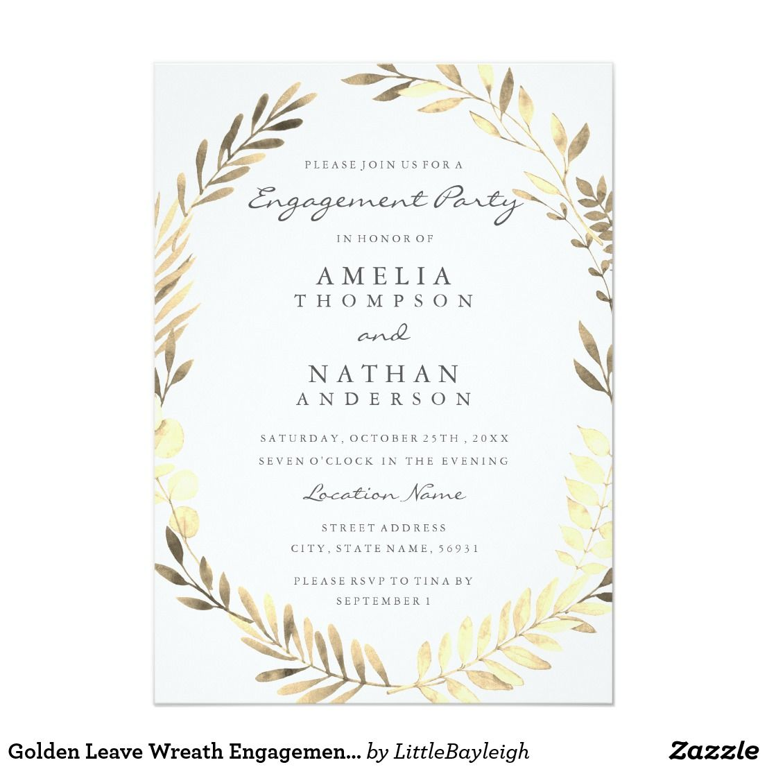 Golden Leave Wreath Engagement Party Invite | Engagement Party ...